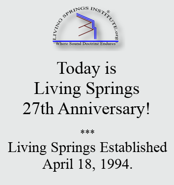 Today is Living Springs 27th Anniversary! Living Springs Established April 18, 1994.